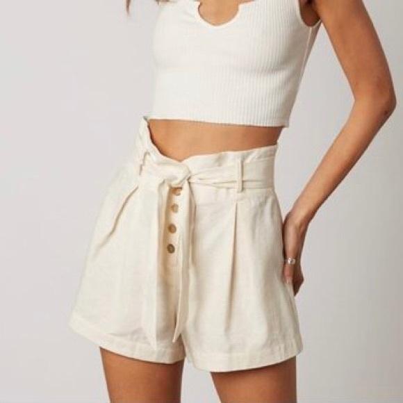 Cotton Candy Pants - Cotton Candy LA Paper Bag Button Front Shorts